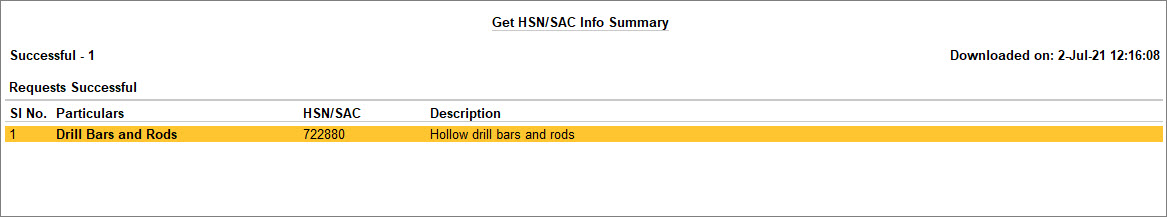 Get HSN or SAC Info Summary for HSN Validation in TallyPrime