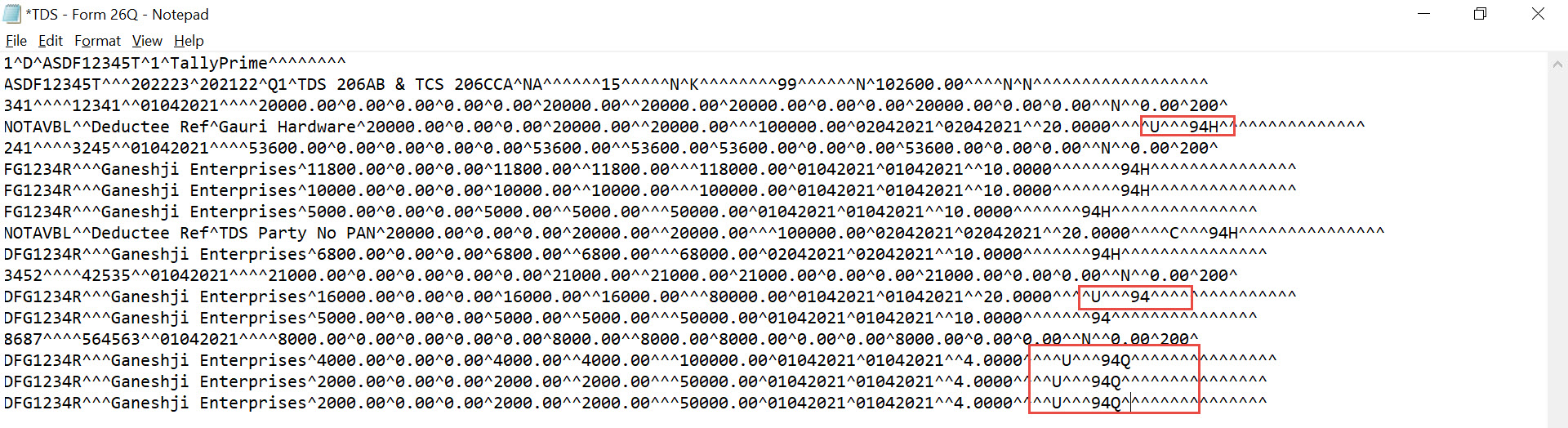 After Removing 0000 from the Row in the Text File.