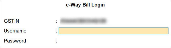e-Way Bill Login Screen in TallyPrime