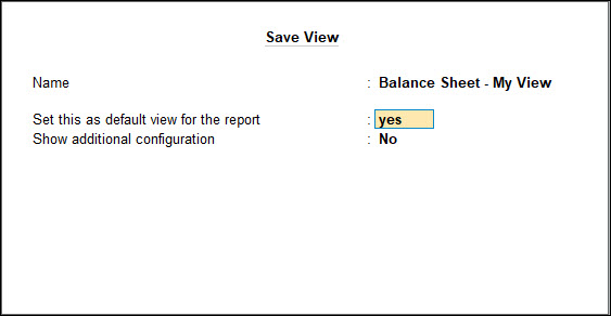 Save view options