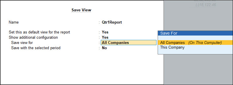 Save report in all companies or in this company