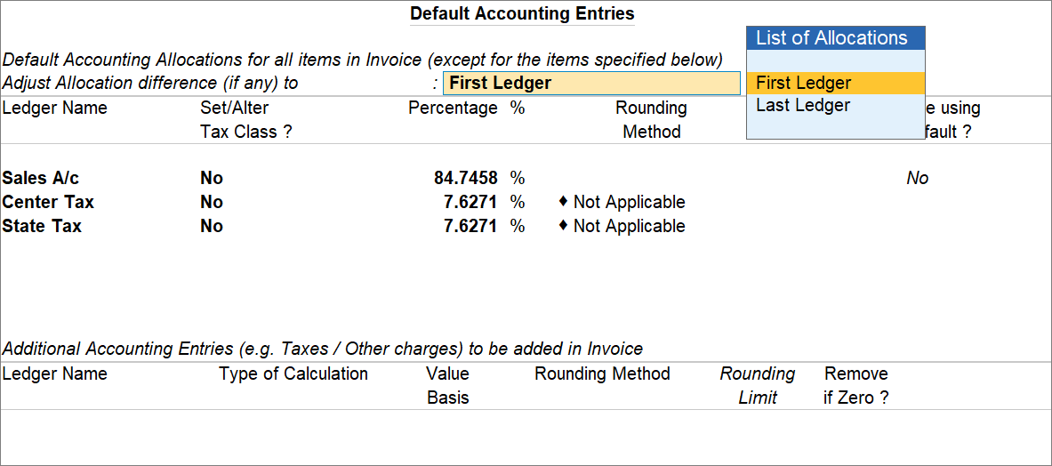 Default Accounting Entries in TallyPrime For Invoice Inclusive of Tax With Accounting Allocations